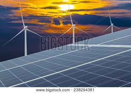 Solar Cells And Wind Turbines Generating Electricity In Power Station Alternative Energy From Nature