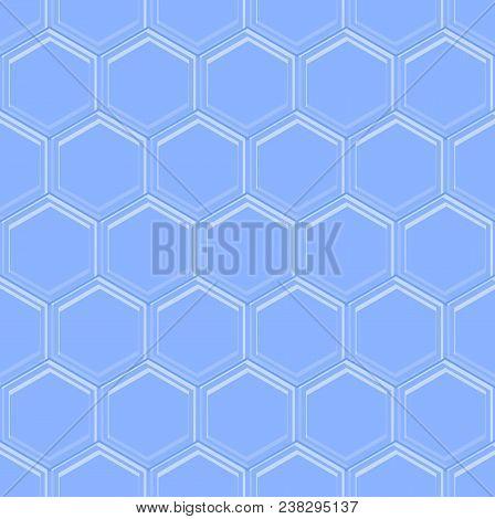 Hexagonal Seamless Embossed Background In Light Blue Design, Hexagon Shape Mosaic, Vector Eps 10