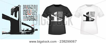 Brooklyn New York Stamp And T Shirt Mockup. T-shirt Print Design. Printing And Badge Applique Label