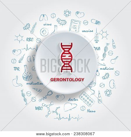 Icons For Medical Specialties. Gerontology Concept. Vector Illustration With Hand Drawn Medicine Doo
