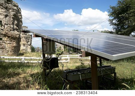 Renewable energy is a necessity of the future world, Solar Cell Future Energy, Solar panels solar on the background of the area ??the sky and Mountain, Solar is a Clean Energy to the World of Safety poster