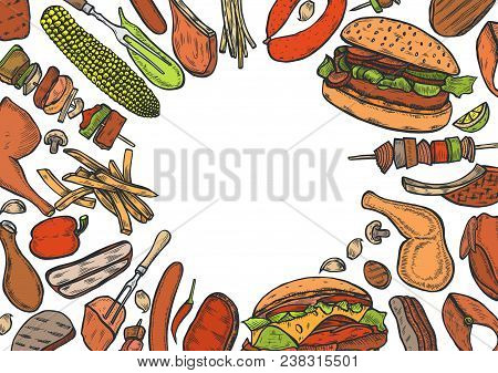 Colored Hand Drawn Grilled Vegetables Top View Frame, Vegetarian Cuisine. Grill Menu Design Template
