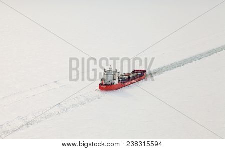 Krasnoyarsk Region, Russia - March 29, 2017: Icebreaker Zapolyarny Norilsk Nickel On The Frozen Yeni