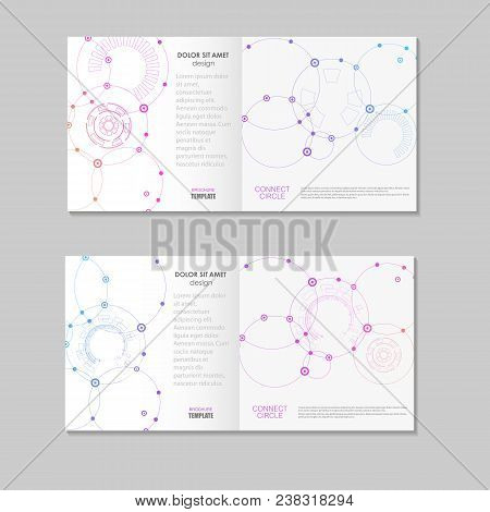 Vector Pattern Disclosed Brochure With A Print Of Connected Circles.