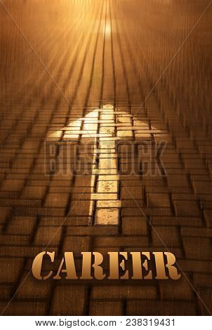 Career Concept With Arrow. Career Word Written On Road At The Sunset. Forward To Infinity. Conceptua