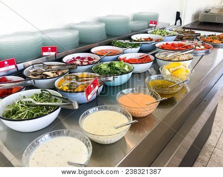 Bat Yam, Israel-july 3, 2017: Large Amounts Of Delicious Food On Table In Hotel In Bat Yam, Israel.