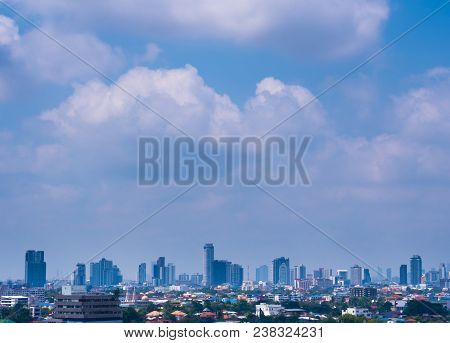 Bangkok, Thailand - Feb 13, 2018 Bangkok City Downtown Cityscape Urban Skyline And The Cloud In Blue