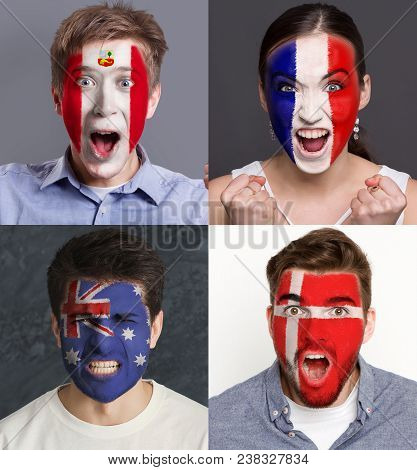 Emotional Soccer Fans With Painted Flags Of France, Australia, Peru And Denmark On Faces. Rooters Of