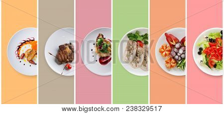 Set Of Various Restaurant Meals On Colorful Background. Collage Of Different Main Courses, Meat And