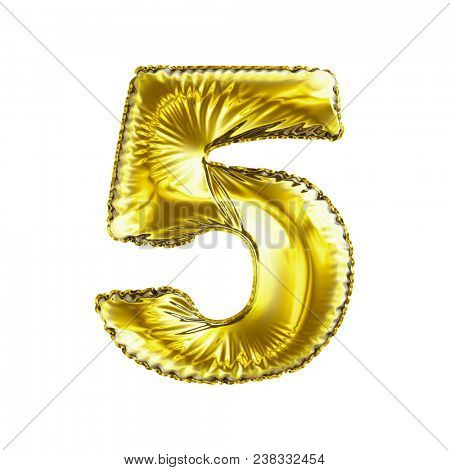 Number 5 five made of gold balloon isolated on a white background. 3d rendering