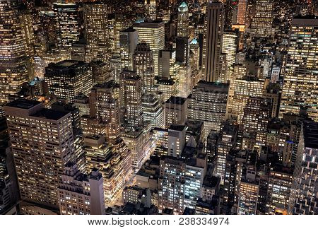 Arial View Of Mid-town Manhattan At Night