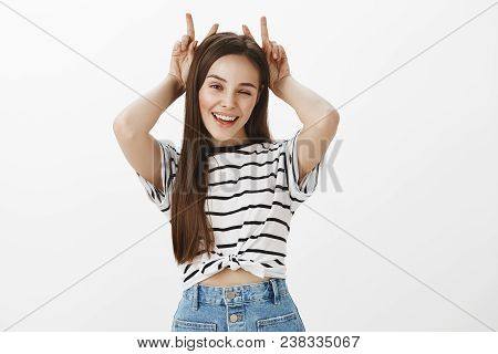 Girl Assured We Will Have Fun Together. Portrait Of Cheerful Bright Girlfriend With Brown Hair, Hold