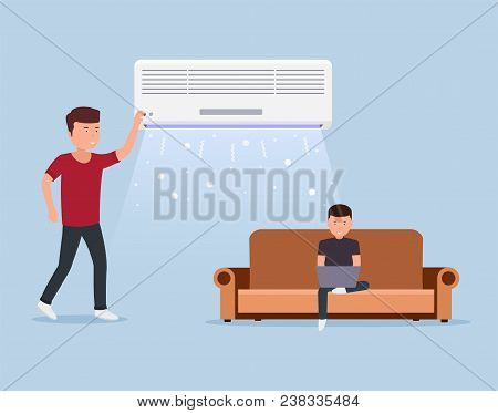 Home Air Conditioning, Room With Cooling, Man On Sofa With Laptop And Air Conditioning In Indoors.