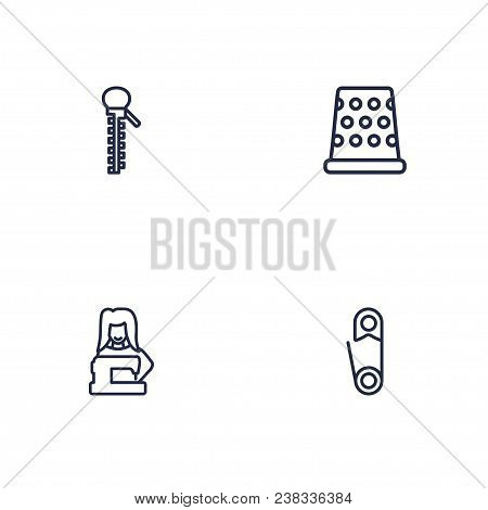 Set Of 4 Tailor Icons Line Style Set. Collection Of Fastener, Pintle, Clothier And Other Elements.
