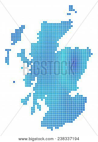 Blue Pixel Scotland Map. Vector Geographic Map In Cold Blue Color Tints. Vector Composition Of Scotl