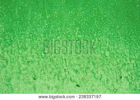 Green Background With Paint Spots. Green Painted Wall Texture Acrylic Painted Surface. Green Backgro