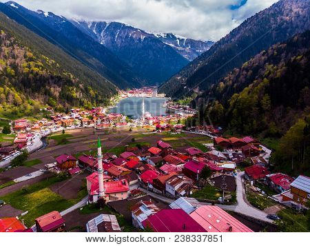 Beautiful Drone View To The Uzungol Lake And Its Surrounding In Trabzon City