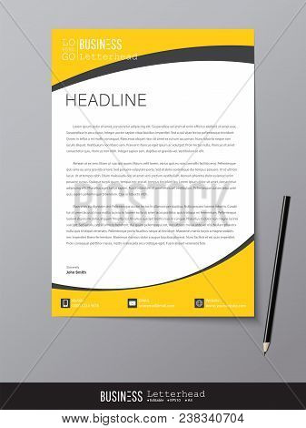 Letterhead Design Template And Mockup Minimalist Style Vector. Design For Business Or Letter Layout,