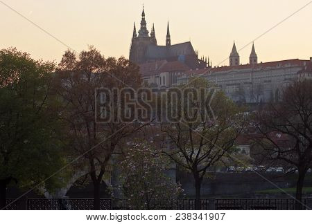 The Ancient Castle Hradcany. The Spires Of St. Vitus Cathedral