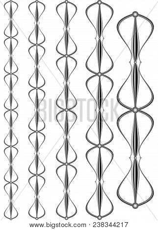 Wrought Iron Modular Railings And Fences. Close-up Of Worked Iron For Decoration, Metal Elements For