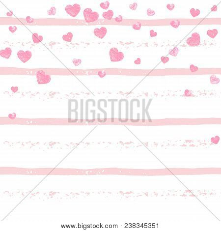 Pink Glitter Confetti With Hearts On Pink Stripes. Falling Sequins With Metallic Shimmer. Template W