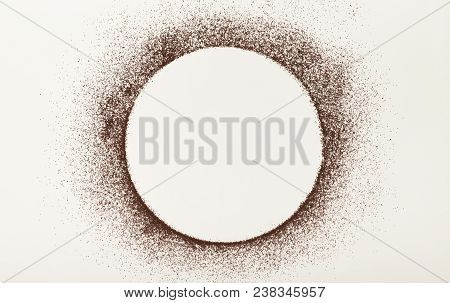 Empty Circle Drawn With Ground Coffee On White Isolated Background. Mockup For Advertizing, Copy Spa