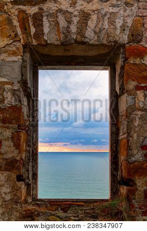 View Of The Sea From The Window Of The Abandoned Old Mansion Called Dacha Kvitko In Overcast Day, So