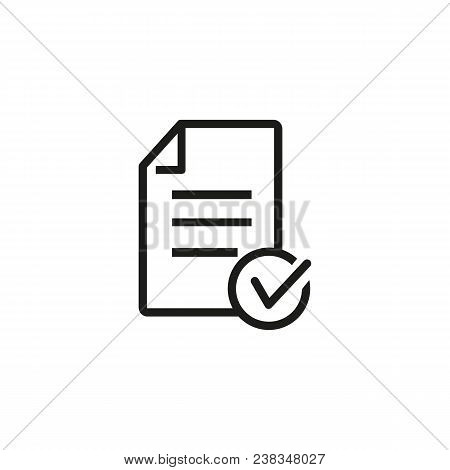 Icon Of Approved Loan. Checklist, File, Document. Paperwork Concept. Can Be Used For Topics Like Qua