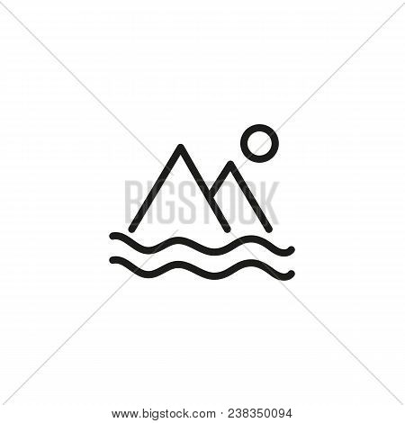 Icon Of Nature Landscape. Island, Destination, Mountain. Geography Concept. Can Be Used For Topics L