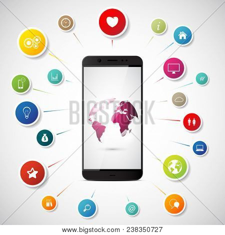 Internet concept. Smartphone connect to global social network communication.