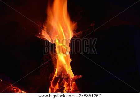 Hot Coals In An Outdoor Fireplace. South Bohemia
