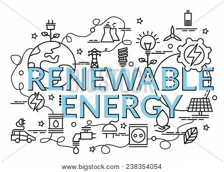 Flat Colorful Design Concept For Renewable Energy. Infographic Idea Of Making Creative Products. Tem