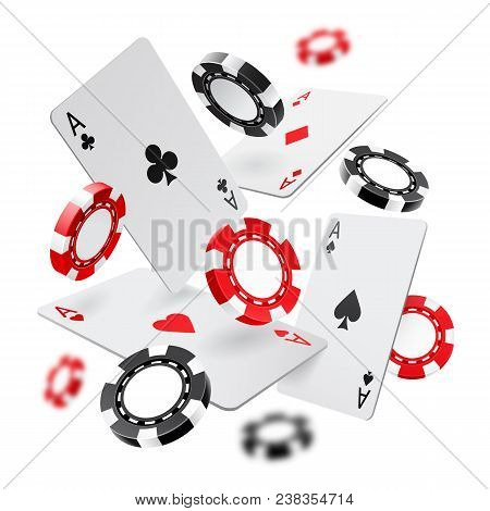 Falling Aces And Casino Chips With Blurred Elements On White Background. Playing Cards, Red And Blac