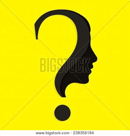 Human Face With Question Mark. Education And Innovation Concept.