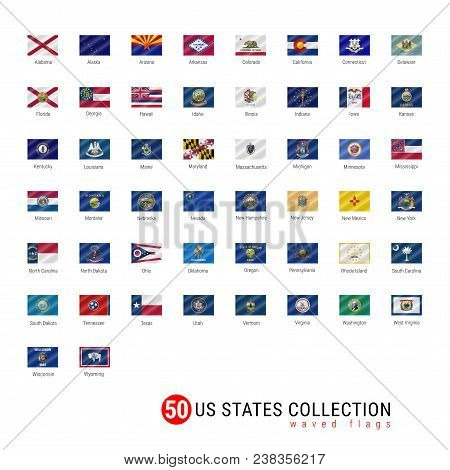 50 Us States Vector Flag Set. Official Vector Flags Of All 50 States. Us States Waved Flags With Nam