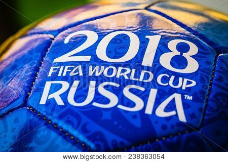 Moscow, Russia. April 29, 2018. Souvenir Ball With The Emblems Of The Fifa World Cup 2018 In Moscow.