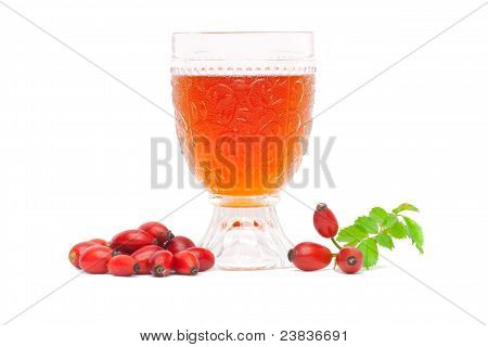Rosehip wine and fruits isolated on white