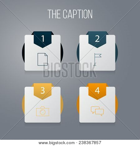 Icon Line Social Set Of Flag, Conversation, Camera And Other Vector Objects. Also Includes Paper, Co