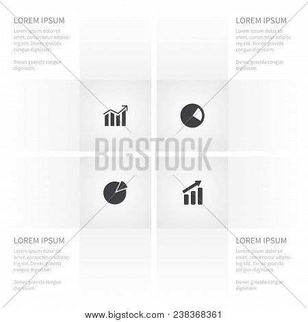 Icon Chart Set Of Progress, Increase, Pie Bar And Other Vector Objects. Also Includes Pie, Chart, In