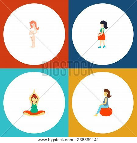 Icon Flat Pregnancy Set Of Pregnant Woman, Pregnancy, Meditation And Other  Objects. Also Includes P