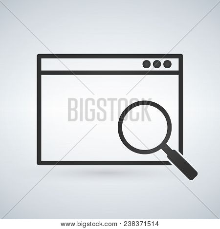 Simple Browser Window With Magnifying Glass On Modern Background. Search Concept Icon. Flat Vector I