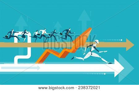 Group Of Business People Running On The Arrow Towards A Success But Robot Taking A Lead. Humans Vs R