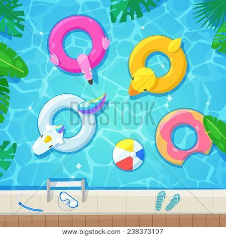 Swimming Pool With Colorful Floats, Top View Vector Illustration. Kids Inflatable Toys Flamingo, Duc
