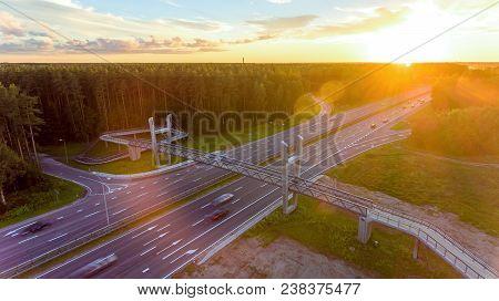 Bridge, Viaduct, Motorway View From Above. Aerial.
