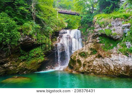 Sum Waterfall Of Radovna River Flowing Through Vintgar Gorge, Triglav National Park, Julian Alps, Sl