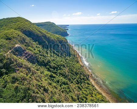 Beautiful Rugged Ocean Coastline On Bright Sunny Day. Grand Pacific Drive, Sydney, Australia