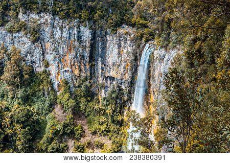 Beautiful Tall Waterfall - Rainbow Falls. Springbrook National Park, Qld, Australia