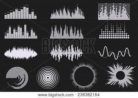Sound Digital Equalizer Set. Audio Digital Equalizer Technology. Music Soundwave Icons. Classic, Rou