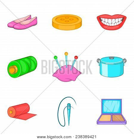 Charwoman Icons Set. Cartoon Set Of 9 Charwoman Vector Icons For Web Isolated On White Background