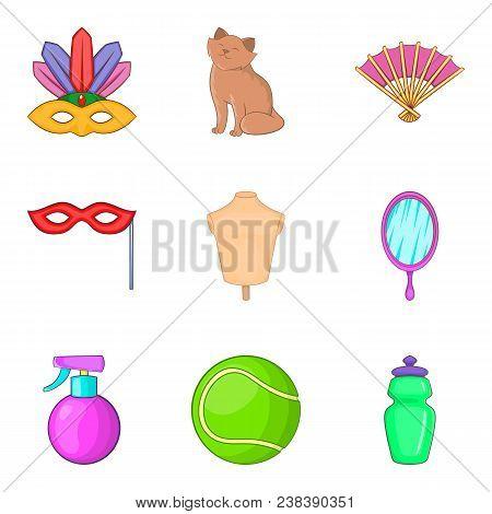 Womanish Icons Set. Cartoon Set Of 9 Womanish Vector Icons For Web Isolated On White Background